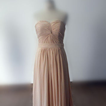 Real Samples Pleated Bridesmaid Dress, Long Chiffon Evening Dress, Sweetheart Prom Dress