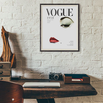 Vogue Cover 1950 Print, Fashion Art, French Decor, Printable Art, Vanity Decor, French Wall Art, Poster, Instant Download, Affiche