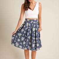 Jaclyn Denim Floral Midi Skirt