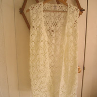 Vintage Crochet Vest Ivory Young Girl by DebsCollectibles on Etsy