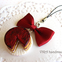 Kawaii cute handmade polymer clay miniature food cherry cake bowknot cell phone strap charm