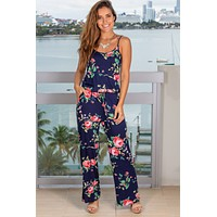 Navy and Pink Floral Tank Jumpsuit
