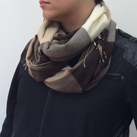 Brown Beige Plaid Pashmina Scarf with Tassels, Men Scarf, Unisex Checkered Scarves, Pashmina Scarves, Designscope, Fast Delivery