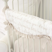 Love Letters Baby Bedding | Letters in Taupe Crib Rail Cover