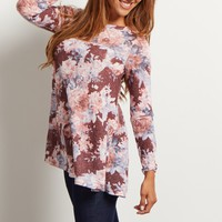 Olive-Green-Floral-Print-Knit-Top