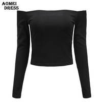 Women Summer Sexy Off the Shoulder Long Sleeve Crop Tops Cropped Solid White Black Woman Fashion Clothing