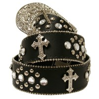 Black Cross Rodeo Rhinestone Western Bling Belt