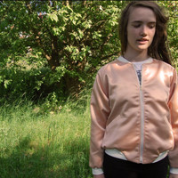 Peach satin bomber jacket - S/M - sustainable, eco design