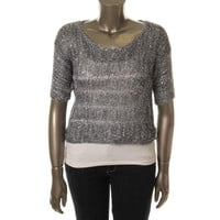OhMG Womens Knit Sequined Pullover Sweater