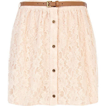 Beige lace button through belted mini skirt