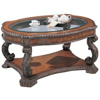 A.M.B. Furniture & Design :: Living room furniture :: Coffee table sets :: Brown antique finish wood coffee table with glass top insert