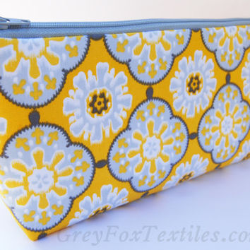 Bright yellow and gray tile print handmade fabric clutch, wallet, cosmetic case, makeup bag, travel tote, pencil case
