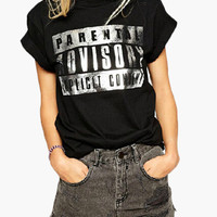 Black Silver Graphic Print Roll Up Sleeve T-Shirt