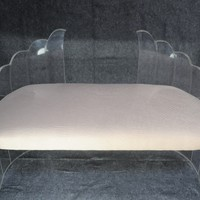 """Sculptural Clear Lucite """"Wing"""" Bench by Hill Mfg. attr. Charles Hollis Jones"""