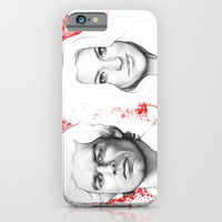 Dexter and Debra Morgan Portrait, Blood Splatter iPhone & iPod Case by Olechka