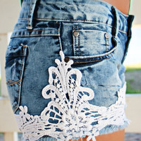 Crochet Embrace Denim Shorts