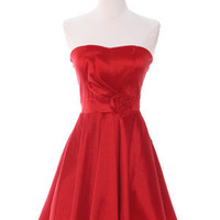 Red Cocktail Dresses, Valentine's Dress, Special Occasion Dresses with Rosette from Sung Boutique Los Angeles