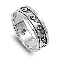 925 Sterling Silver Wave Ring - Sterling Silver Roman Ring for Men and Women