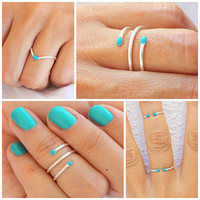 3 Sterling Silver Rings, Silver Knuckle Ring,Turquoise Midi Rings, Stacking Midi Ring, Rings, Mid Knuckle Ring