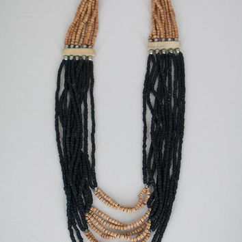 SALE Vintage 70s Necklace / 1970s Black and Brown Wood Bead Multi Strand Necklace
