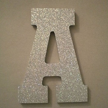 "Silver Glitter Letters - Sparkling Silver Glitter Wall Letters, Initials or Words - 10.5"" in A-Z"