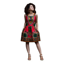 African Wax Dashiki Red Skater Dress without Sleeves