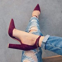 Lace Up Retro High Heels Women's Sandals Strappy Pumps