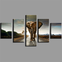 5 Panel Elephant Canvas Painting Home Decoration Living Room Print Painting Wall Art Picture Modern Canvas Prints Frameless