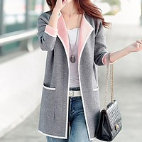fhotwinter19 plus size women's fat mid-length knitted coat