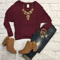 Darla Dolman Top: Burgundy