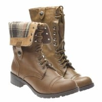 Soda Women's Closed Round Toe Lace Up Combat Boots Fold Over Military Riding Shoes, Tan Plaid PU Leather, 5.5 B (M) US