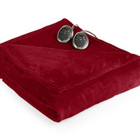 CLOSEOUT! Slumber Rest Velvet Plush Heated Twin Blanket by Sunbeam - Blankets & Throws - Bed & Bath - Macy's