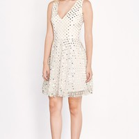 Not All That Glitters Is Gold White Sequin Dotted Mesh Dress
