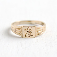 Antique Edwardian Monogrammed 10k Yellow Gold Ring - Allsop Brothers Size 1 1/2 Baby Midi Pinky Initial Jewelry