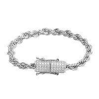 Stainless Steel 14k White Gold Finish 4mm Rope Bracelet Designer New Iced Out Lock