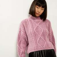 Pink Premium Chunky Cable Knit Cropped Jumper