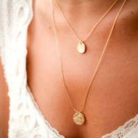 Two Tier Gold Necklace, Elegant, Unique Bridal Jewelry, 18k Gold Plated