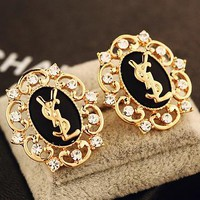 YSL high-end atmospheric hollow-out temperament diamond earrings retro fashion earrings exaggerated earrings luxury earrings