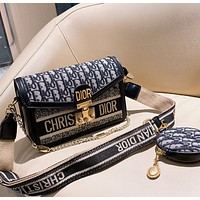 Dior simple bag with two long shoulder straps should bag with small bag