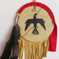 Great Plains Native American Indian war shield primitive bird eagle crow symbol tanned leather hide feathers spiritual western chief warrior