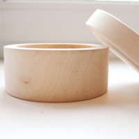Round unfinished wooden box - with cover - natural, eco friendly - 100 mm diameter