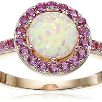 Rose Gold Plated Sterling Silver Created Pink Opal and Created Pink Sapphire Halo Ring, Size 7