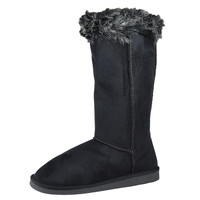 Womens Mid Calf Boots Two Tone Fur Cuff Casual Pull on Shoes Black SZ