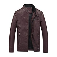 Men's Zipper Solid PU Leather Casual Jacket