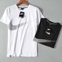 NIKE Summer Fashion Men Leisure Print Short Sleeve Print T-Shirt Top
