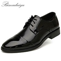 Classic Business Men's Breathable Dress Flat Shoes Fashion Casual Style Male Leather Black Brown Wedding Shoe
