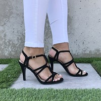 Elsa Diamond Cut Out Heels In Black