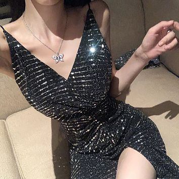 Women's trendy sexy backless A-line skirt sequin dress