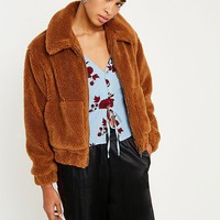 UO Light Brown Teddy Cropped Jacket | Urban Outfitters
