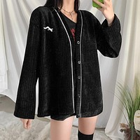 Fashion women's cardigan single-breasted knitted medium and long coat